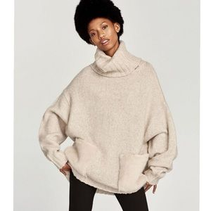 Zara roll neck sweater with faux fur pockets